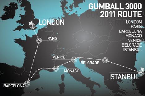 Es wird doch ernst mit Gumball3000 route